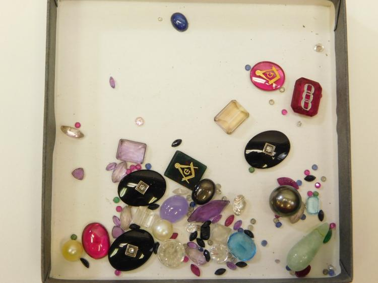 96.4 Ct Lot Of Semi-Precious And Precious Gemstones Pulled From Gold Jewelry Including Diamonds Emeralds And Rubies