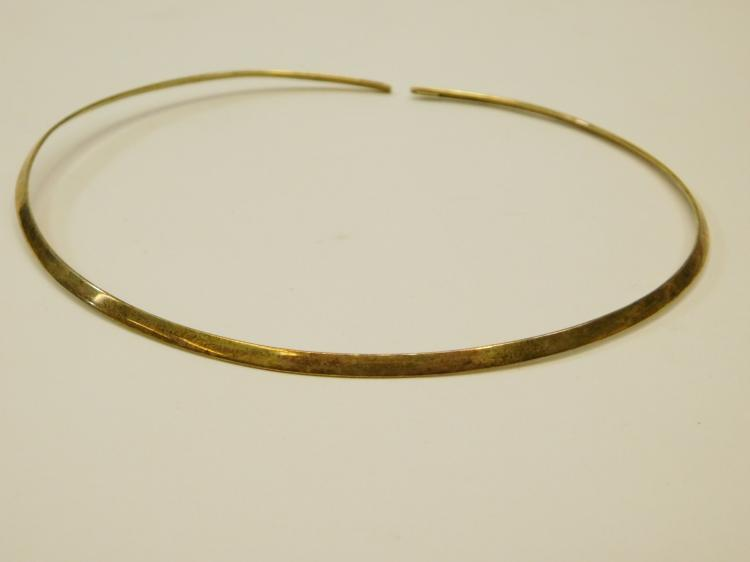 Vintage Sterling Silver Gold Tone Hardwired Choker Necklace 11G