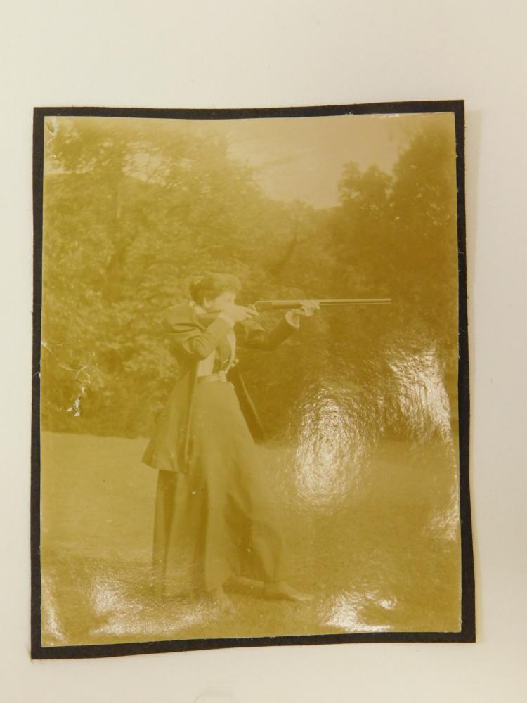 Albumen Photograph Of Pioneer Woman Shooting Winchester Circa 1900