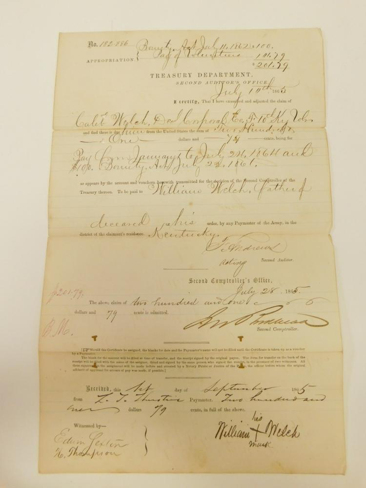 1865 10Th Kentucky Bounty Act Pay And Bounty Certificate Document