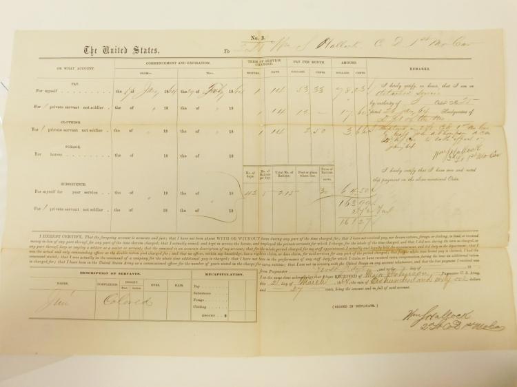 1864 First Missouri Cavalry Document Negro Servant Civil War Document Voucher
