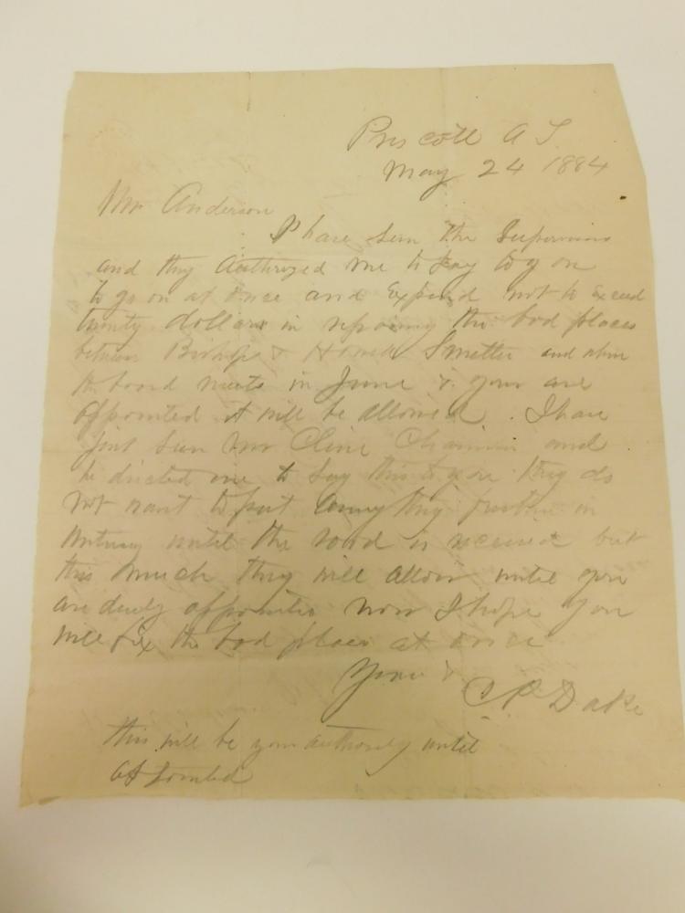 1884 Hand Written Letter On Period Paper Prescott Arizona Document