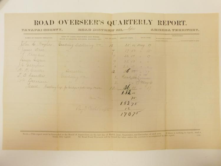 1888 Road Overseers Quarterly Report Yavapai County Prescott Arizona Document