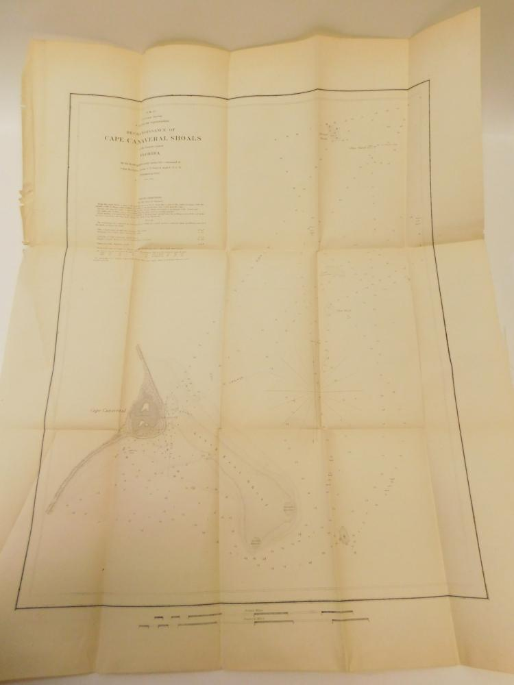 1850 Large Pre Civil War Map Of Cape Canaveral Florida