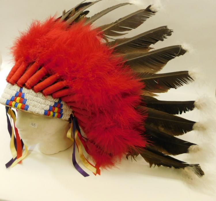 Vintage Hand-Made Navajo Beaded Faux Eagle Feather Headdress