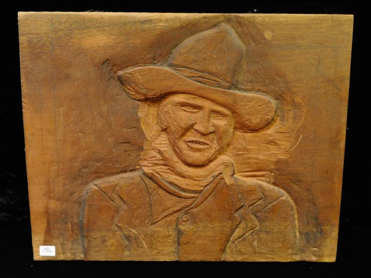 15 By 11 Hand Carved Folk Art John Wayne Cowboy Wall Plaque Picture
