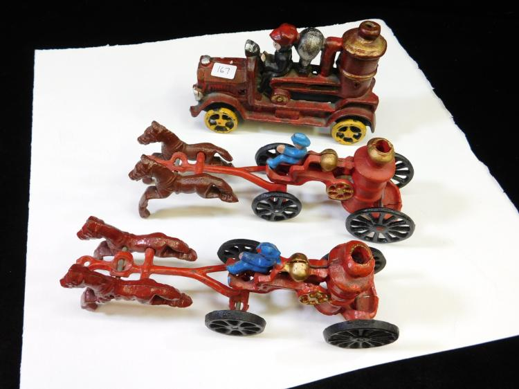 Lot Of 3 Modern Cast Iron Horse And Carriage Fire Trucks