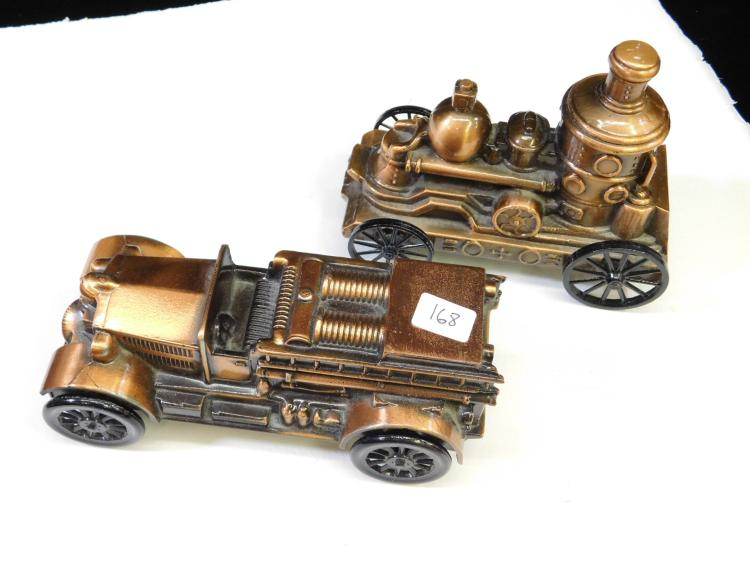 Lot Of 2 Fire Truck Diecast Metal Banks 1924 Ahrens Fox And Pump Wagon