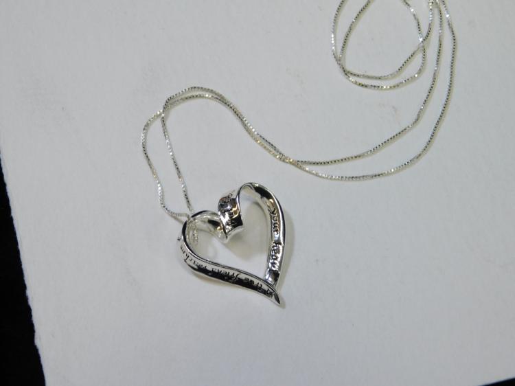 Modern Sterling Silver True Friend Heart Pendant Necklace