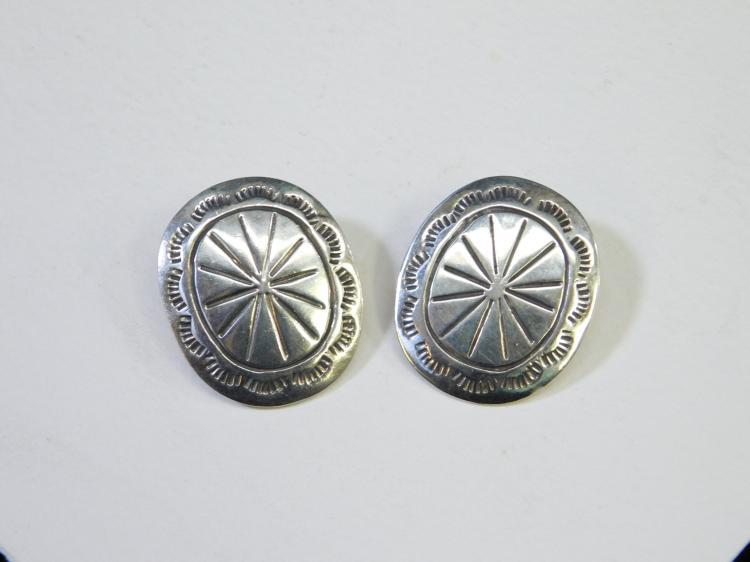 Vintage Mexico Taxco Sterling Silver Stamped Concho Style Southwestern Earrings 14G