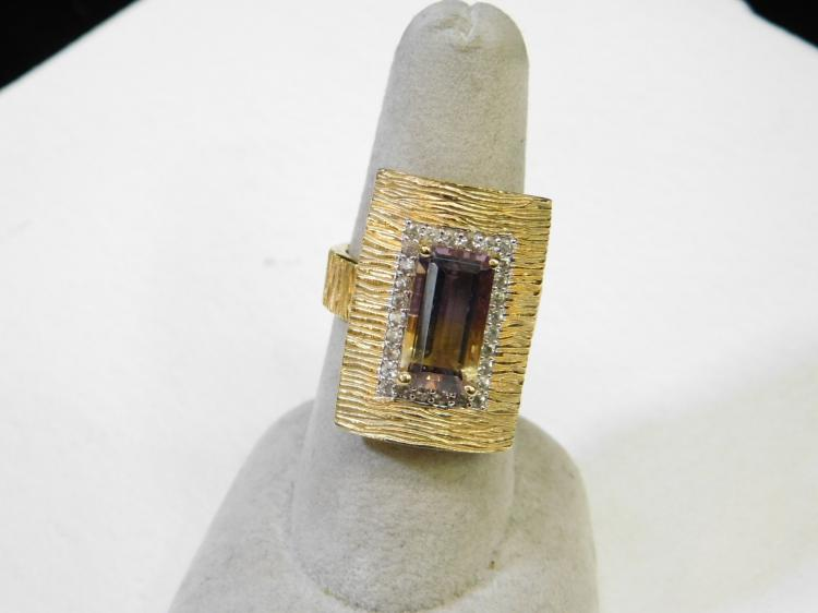 Modern New Gold Tone Sterling Silver Ametrine Fashion Ring Size 7