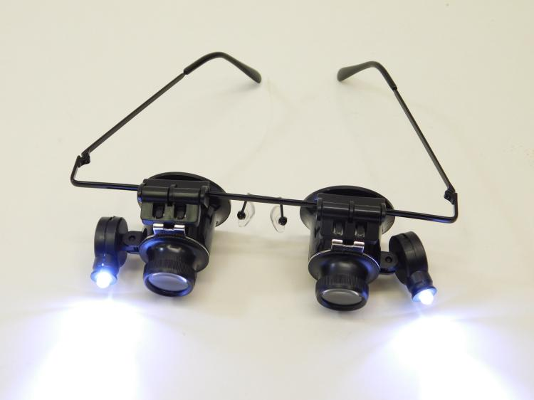 Jewelers Watch Repair Fishing Fly Tying Lighted Double Loop Magnifying Glasses