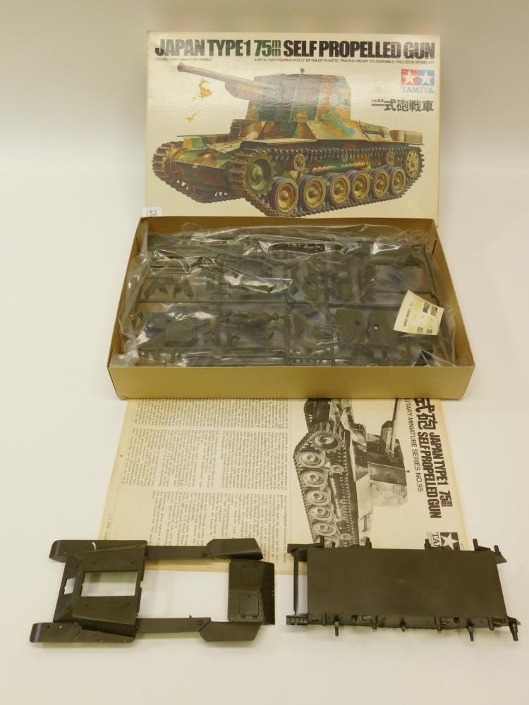 Vintage Tamiya 1/35 Scale Military Miniatures Japan Type1 75Mm Self-Propelled Gun Tank Model Kit