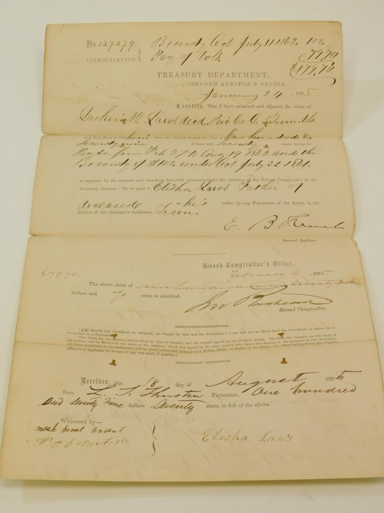 Bounty Act Of 1862 V Tennessee Pay And Bounty Certificate Document