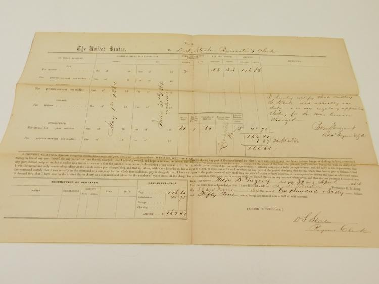 1864 Civil War Account Ds Steel Paymasters Clerk Document