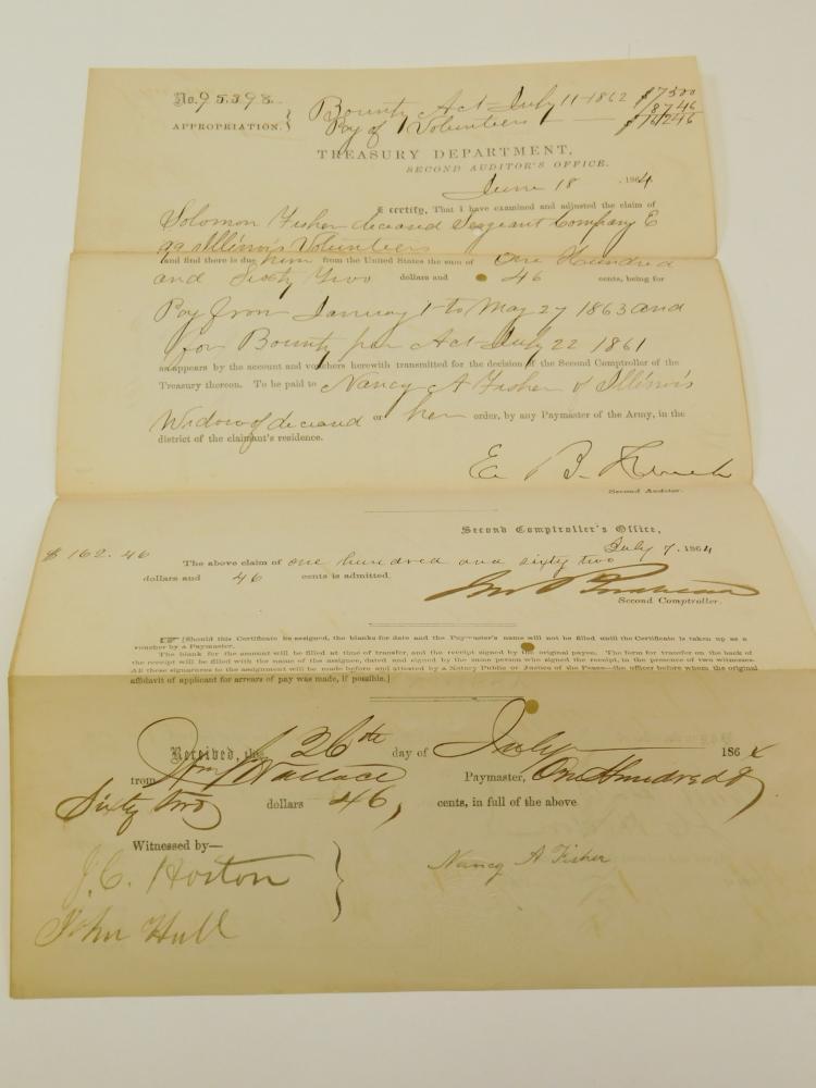 1864 99Th Illinois Civil War Treasury Department Auditors Office Document