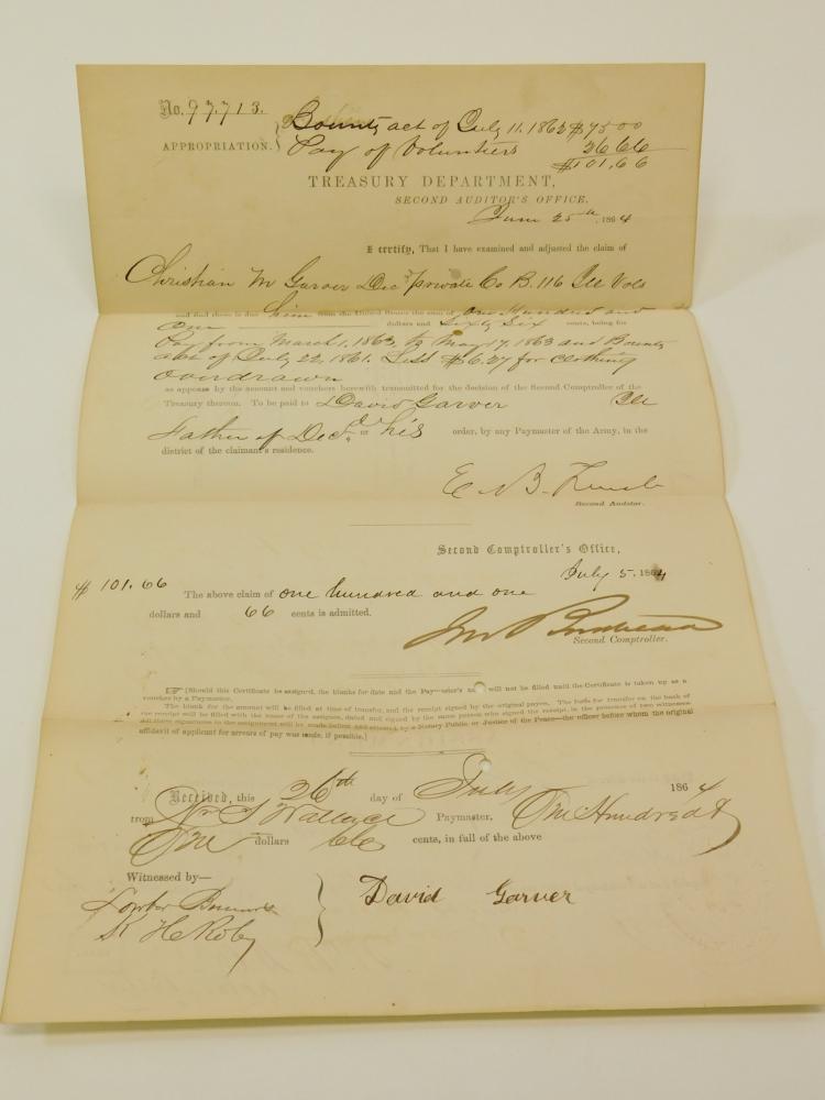 1864 116Th Illinois Civil War Treasury Department Auditors Office Document