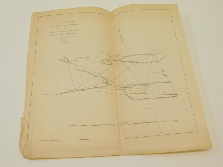 1850 Original Us Coast Survey Beaufort Harbor Map Of North Carolina