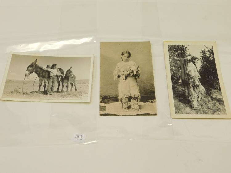 Lot Of 3 Antique Native American Indian Navajo Photograph Postcards