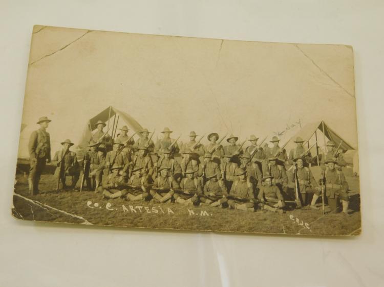 Antique World War 1 Co C Artesia New Mexico Military Regiment Photograph Postcard