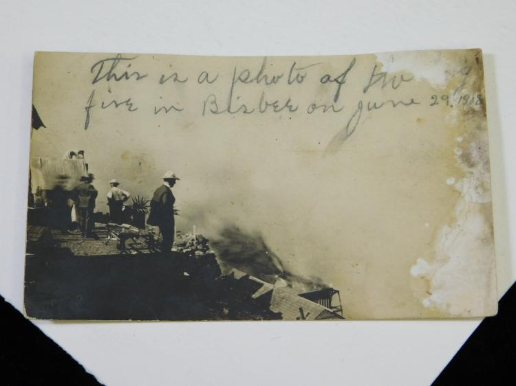 1908 Postcard Photograph Of Fire In Bisbee Arizona