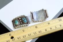 Lot 102: 31.1 Gram Navajo Sterling Silver And Turquoise Watch Tips