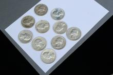 Lot 104: Lot Of 10 1963 And 1964 Silver Washington Quarters