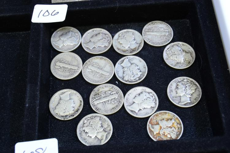 Lot Of 14 U.S. Silver Mercury Dimes