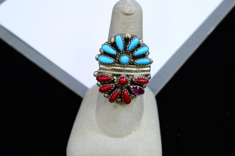 7.7 Grams Sterling Silver Garnet Coral And Turquoise Navajo Ring Signed Dj Size 7.25