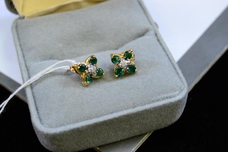 Lot 108: 1.4 Gram 10 Karat Yellow Gold Diamond And Emerald Post Earrings