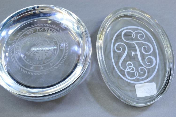 Lot 111: Lot Of 2 Department Of Justice And Fs Clear Glass Paperweights