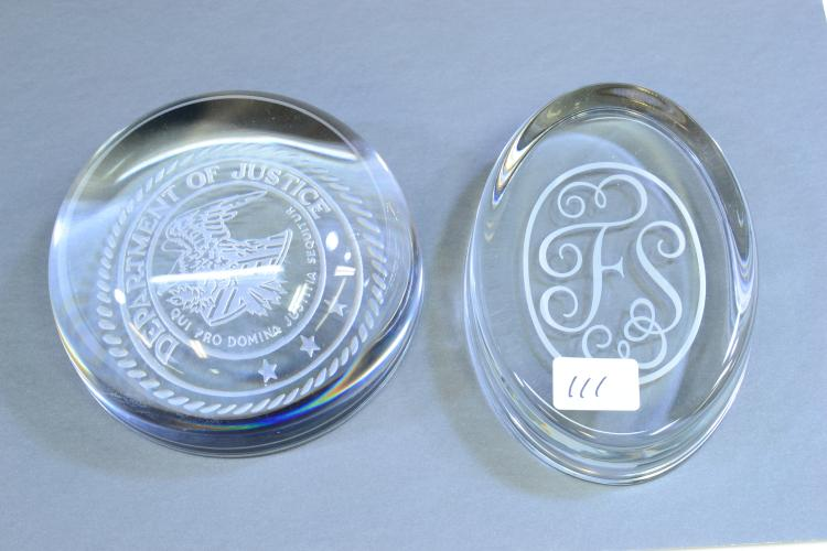 Lot Of 2 Department Of Justice And Fs Clear Glass Paperweights