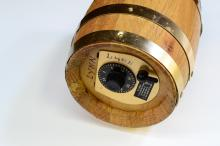 Lot 112: Vintage First National Bank Of Nevada Wooden Barrel With Combination Lock
