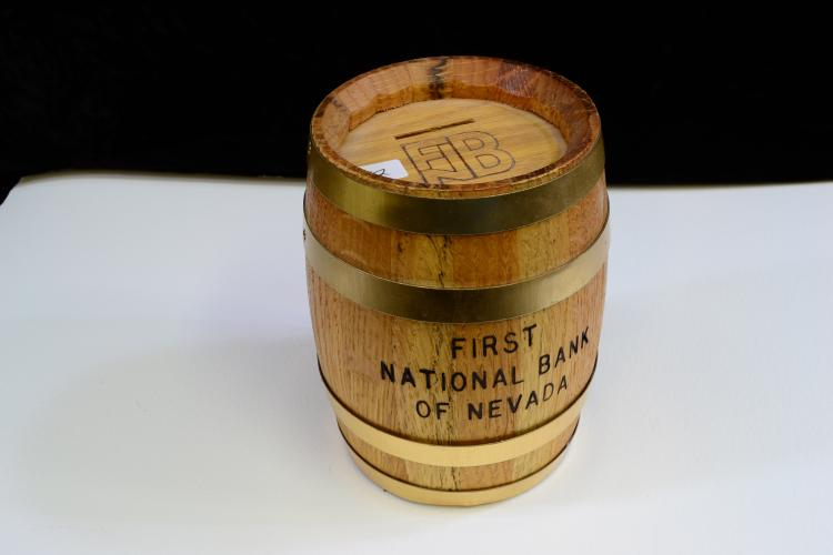 Vintage First National Bank Of Nevada Wooden Barrel With Combination Lock
