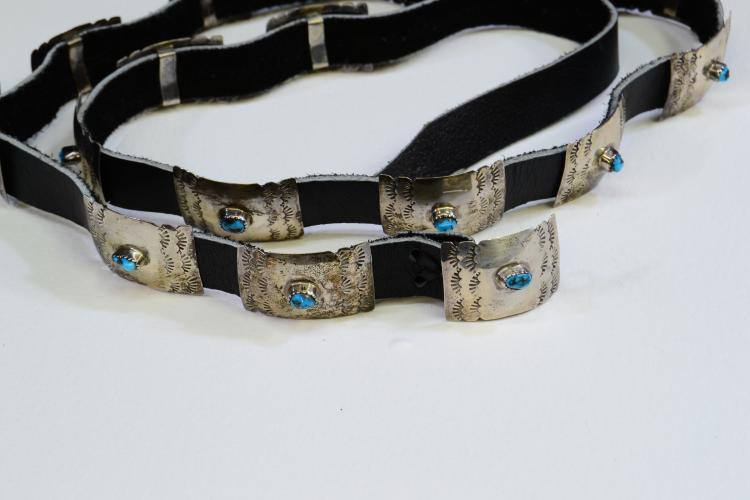 Lot 114: Navajo Hand Stamped Sterling Silver And Turquoise Concho Belt