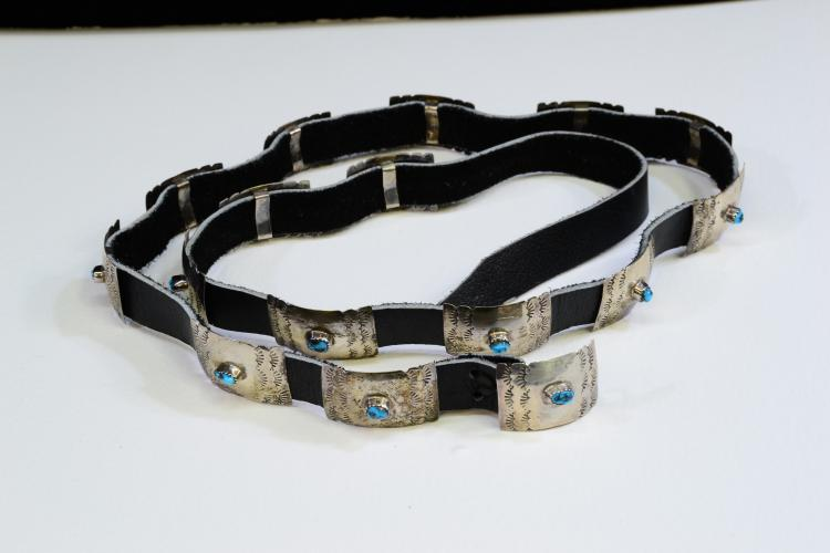 Navajo Hand Stamped Sterling Silver And Turquoise Concho Belt