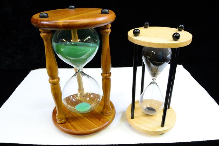 Lot Of 2 Wooden Hourglass Sand Timers