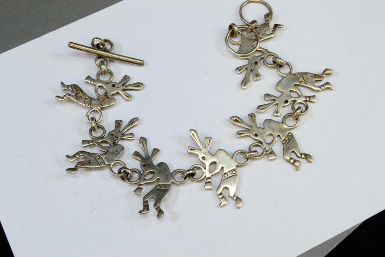 14.7 Gram Sterling Silver Dancing Kokopelli 7 Inch Bracelet