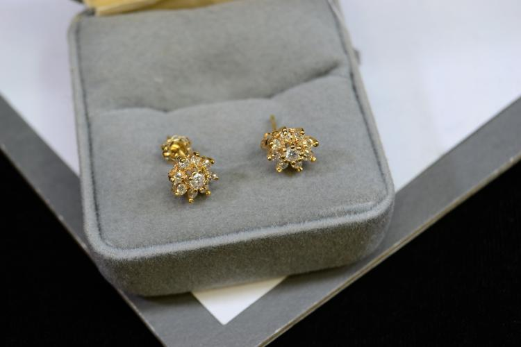 1.2 Gram 14 Karat Yellow Gold And Diamond Post Earrings