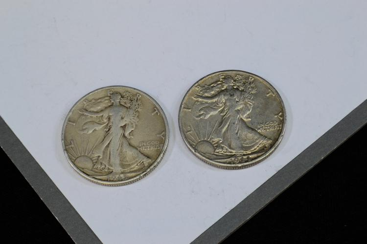Lot Of 2 1944 And 1945 Walking Liberty Silver Half Dollars