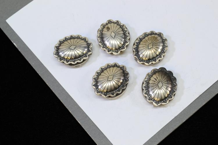 17.8 Gram Lot Of 5 Sterling Silver Concho Button Covers Signed Wsb
