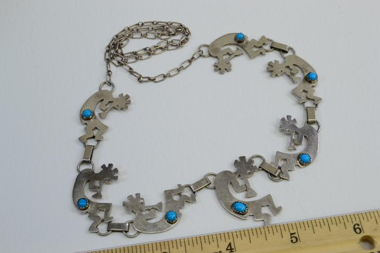 21.9 Gram Navajo Sterling Silver And Turquoise 24 Inch Dancing Kokopelli Necklace