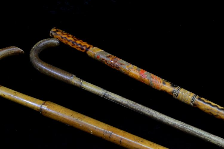 Lot 129: Lot Of 3 Carved Wood Walking Stick An Antique Canes