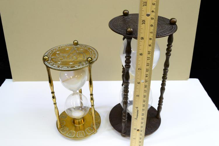 Lot 131: Lot Of 2 Etched Brass Hourglass Sand Timers