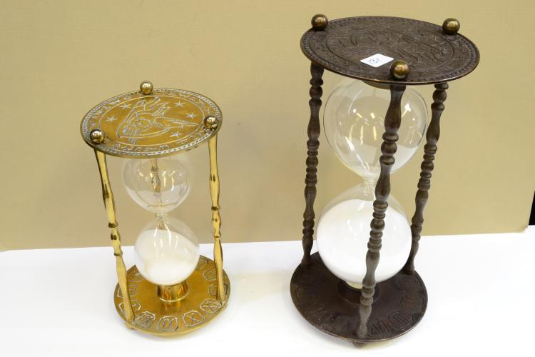 Lot Of 2 Etched Brass Hourglass Sand Timers