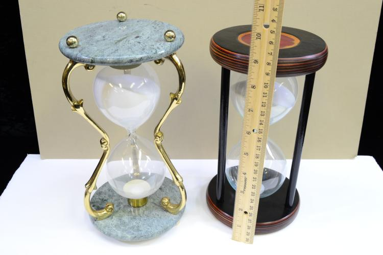 Lot 132: Lot Of 2 Polished Wood Marble And Brass Hourglass Sand Timers