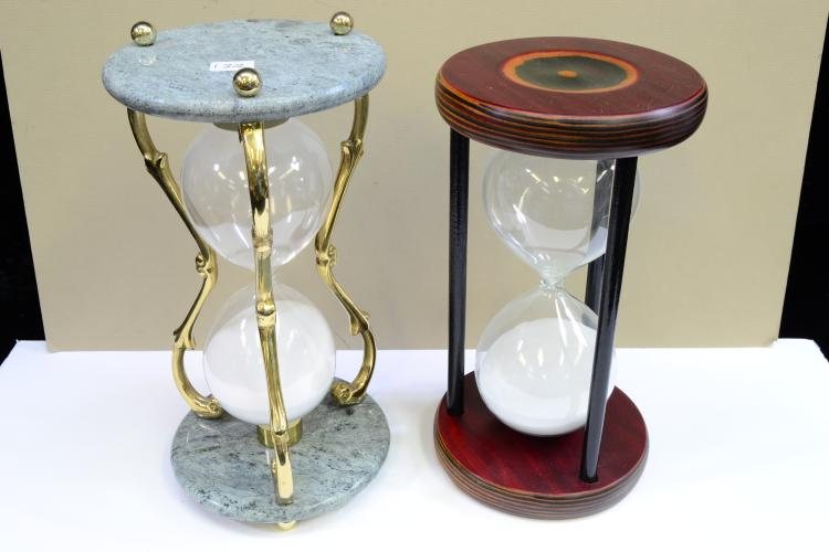 Lot Of 2 Polished Wood Marble And Brass Hourglass Sand Timers