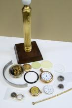 Lot 138: Lot Of Columnar Pocket Watch Stand And Parts For Repair