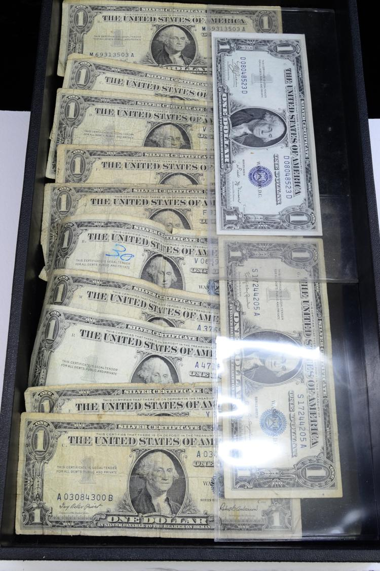 Lot Of 12 Series 1935 And 1957 $1 Silver Certificates