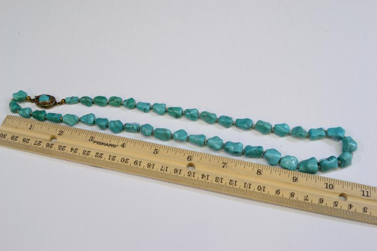 Lot 146: Vintage Sterling Silver And Polished Turquoise Nugget 22.75 Inch Necklace